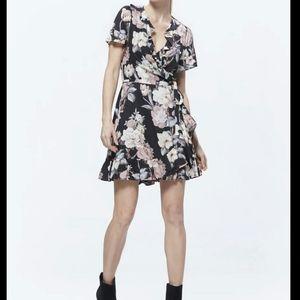 PAIGE Cardamom Floral Wrap Dress Black Sz S